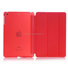 crystal transparent hard PC back case for iPad air PU leather case Smart cover for iPad 5