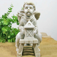 winter Christmas resin angel boy outdoor ornaments