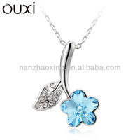 OUXI 2015 Flower Necklace Artificial Silver Jewellery made with Swarovski Elements