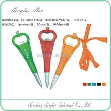 Beer promotional bottle opener pen with lanyard