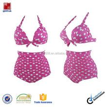 Pink and White Polka Vintage High Waisted Bikini Swimwear