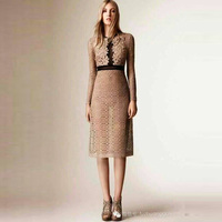 Women Autumn Dress 2015 Fashion Slim Elegant Plus Size XL Flowers Print Hollow Out Royal Lacce Full Sleeve Knee-length Dress