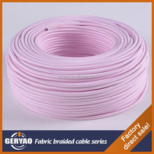 CE VDE ROHS approved fabric cotton coated power cord, cloth covered wire light pink