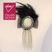 Beaded rhinestone applique patch with chain fringing