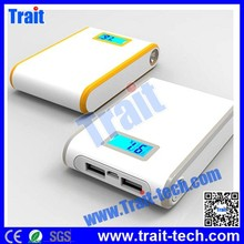 Rechargeable lithium battery 10000mah power bank with LCD screen display capacity and Double USB Output Touch Switch
