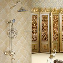 Rainfall Brass Shower Head Gold Plate Single Handle Shower Set Faucet