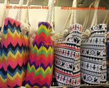 full color/digital custom chevron printed canvas tote bags