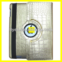 For iPad 2/3/4 360 Rotating Magnetic PU Leather crocodile pattern Case Smart Slim Cover Case