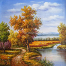 Latest LED oil painting handmade natural pictures oil painting
