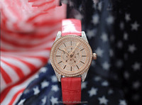 Trendy leather strap watches for large wrist women