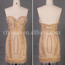 Dw51050 corto sin mangas de hombro de coctel corto últimos diseños del vestido