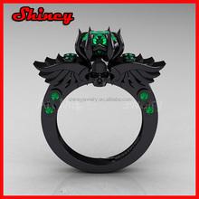 HOT SELL fashion silver emerald black plating ring,men rings
