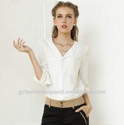 2015 New fashion chiffon lady blouse online shopping
