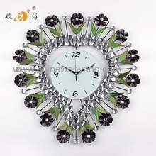2015 flower heart shape iron home decoration fashion antique wall clock