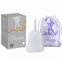 2015 New Brand Anytime Internantional Brand Soft Menstrual Silicone Period Cup Large Size and S Size for Feminine Hygiene AMC02