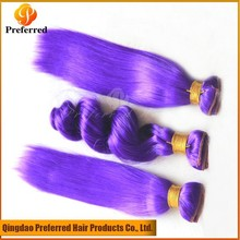 Purple color synthetic hair extension straight hair weave 3 pcs