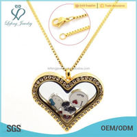 Stainless steel heart floating glass locket 24k gold chain necklace