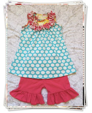 the latest design 2pcs outfits polka dots top and red ruffle shorts set cute girls summer clothing boutique kids clothes