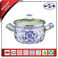 2 pcs Full Decal Porcelain Handle Cooking Pot Set