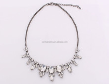 2015 spring latest design fashion glass inlay Necklace wedding party jewelry
