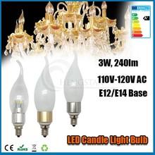 3w,4w,5w e12 bulb candle light 360 degree c37 sharp silver and golden ce rohs ra80 ,E12 Led candle light Led Lamp Bulb