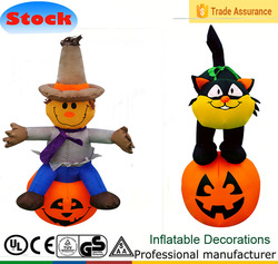 DJ-TL-072 Inflatable doll sitting on Halloween pumpkins and black cats on the stand decoration on the pumpkin