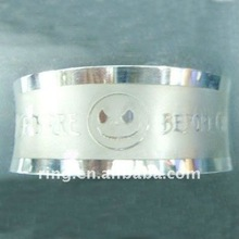 Fashion cute smiling face stainless steel bangle with alphabets