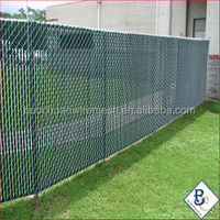 Anping diamond brand galvanized/pvc coated Green Vinyl Chain link fencing with privacy slats