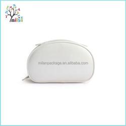 Pure color white pu leather designer cosmetic bag wholesale, leather cosmetic bag