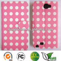 leather cell phone cases with Polka dot for Samsung note 2 N7100