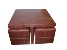 Decorative weaving faux leather coffee table with 4 stools