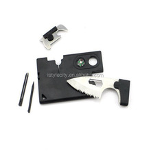 Stainless Steel Outdoor Multifunction Survival Card Kit with Knife