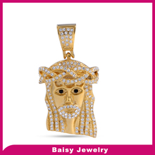Best Selling Factory Direct gold plated stainless steel jesus head pendant