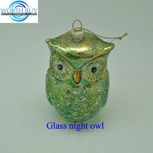 Vintage golden & green Christmas owl ornament for Christmas decoration from Shenzhen factory