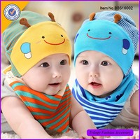 Wholesale Honeybee Design Cotton Baby Cap With Bandana Bibs