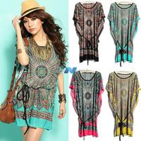 New Fashion Women Dresses Silk Dress Batwing-sleeve Retro Flower Print Dress Autumn-Summer 4 Colors