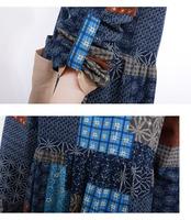 новые осенние случайных женщин свободные длинные vestidos Корейский беременных старинных печатных пэчворк хлопок платье Зима wq0348
