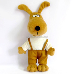 Carton standing dressed long ears dog plush toy