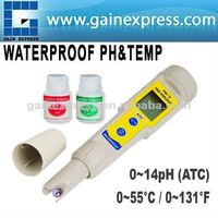 Pen-type Waterproof Digital pH and Temperature Meter degree C / degree F 0.00-14.00 pH Range with 2-Liner Display
