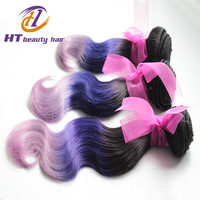 New Arrival Three Tone Color Hair Weft Black/Purple/Pink Ombre Hair Weaving Brazilian Virgin Hair