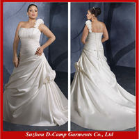 WD-430 Criss-cross detail one shoulder plus size wedding gowns for pregnant women