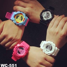Dual time sports waterproof watches fluorescent color electronic watches