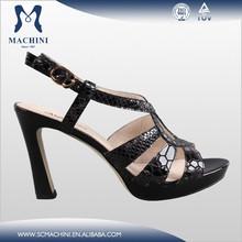Black leather shoes dropship sex high heel women sandals