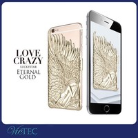 Luxury design relief angel wings bling phone case for iphone 6