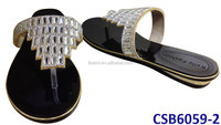 CSB6059-2 2014 New design high quality flat/sandal shoes with crystal on wholesale price