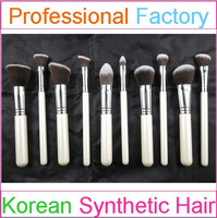 10pcs Hot selling synthetic hair makeup brushes with white handle make up brush high quality