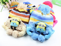 new design knitted caps with earmuffs Despicable Me style hats for children child minions cap hat