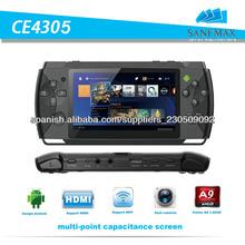 venta caliente 4.3 de''''de 512mb/8gb mp4 mp5 jugador con wifi + tv-box + función hdmi game pad