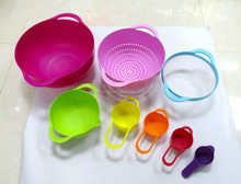 colorful measuring cups set
