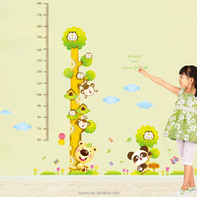 Fashion kids height growth chart wall sticker/Giraffe wall chart for baby learning/height measurement kid wall owl animals art